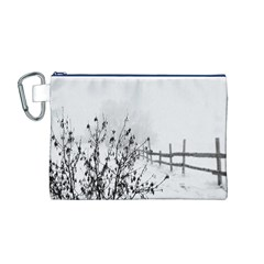 Snow Winter Cold Landscape Fence Canvas Cosmetic Bag (m)