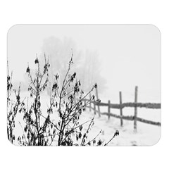 Snow Winter Cold Landscape Fence Double Sided Flano Blanket (large)