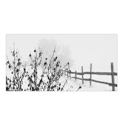 Snow Winter Cold Landscape Fence Satin Shawl