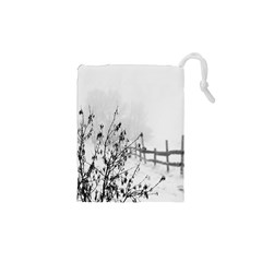 Snow Winter Cold Landscape Fence Drawstring Pouches (xs)