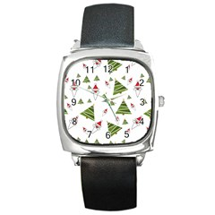 Christmas Santa Claus Decoration Square Metal Watch