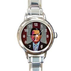 George W Bush Pop Art President Usa Round Italian Charm Watch