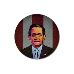 George W Bush Pop Art President Usa Magnet 3  (round)