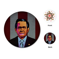 George W Bush Pop Art President Usa Playing Cards (round)