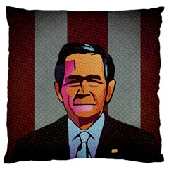 George W Bush Pop Art President Usa Large Flano Cushion Case (one Side)