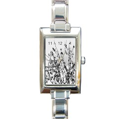 Snow Winter Cold Landscape Fence Rectangle Italian Charm Watch