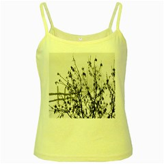 Snow Winter Cold Landscape Fence Yellow Spaghetti Tank