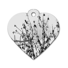 Snow Winter Cold Landscape Fence Dog Tag Heart (one Side)