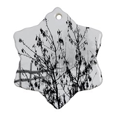 Snow Winter Cold Landscape Fence Snowflake Ornament (two Sides)