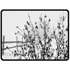 Snow Winter Cold Landscape Fence Double Sided Fleece Blanket (large)