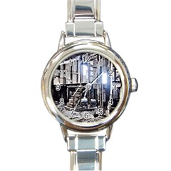 House Old Shed Decay Manufacture Round Italian Charm Watch