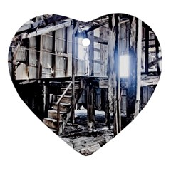 House Old Shed Decay Manufacture Ornament (heart)