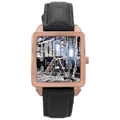 House Old Shed Decay Manufacture Rose Gold Leather Watch