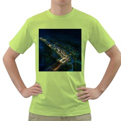 Commercial Street Night View Green T Shirt