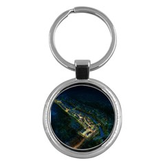 Commercial Street Night View Key Chains (round)