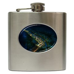 Commercial Street Night View Hip Flask (6 Oz)