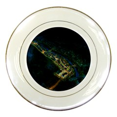 Commercial Street Night View Porcelain Plates