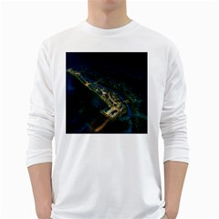 Commercial Street Night View White Long Sleeve T Shirts