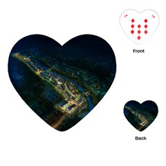 Commercial Street Night View Playing Cards (heart)