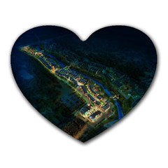 Commercial Street Night View Heart Mousepads