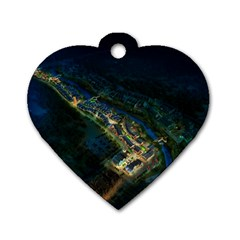 Commercial Street Night View Dog Tag Heart (one Side)