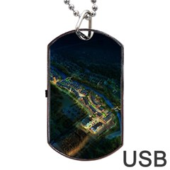 Commercial Street Night View Dog Tag Usb Flash (one Side)