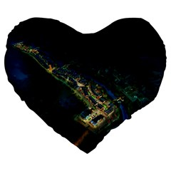 Commercial Street Night View Large 19  Premium Heart Shape Cushions