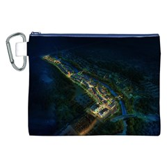 Commercial Street Night View Canvas Cosmetic Bag (xxl)