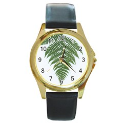 Boating Nature Green Autumn Round Gold Metal Watch