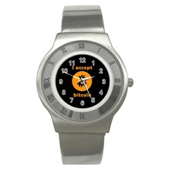 I Accept Bitcoin Stainless Steel Watch