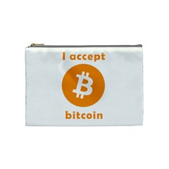 I Accept Bitcoin Cosmetic Bag (medium)
