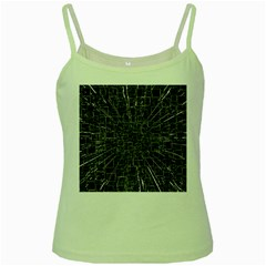 Black Abstract Structure Pattern Green Spaghetti Tank