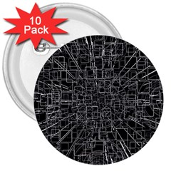 Black Abstract Structure Pattern 3  Buttons (10 Pack)
