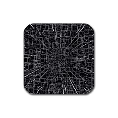 Black Abstract Structure Pattern Rubber Square Coaster (4 Pack)