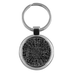 Black Abstract Structure Pattern Key Chains (round)