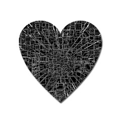 Black Abstract Structure Pattern Heart Magnet