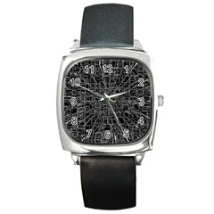 Black Abstract Structure Pattern Square Metal Watch