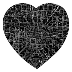 Black Abstract Structure Pattern Jigsaw Puzzle (heart)