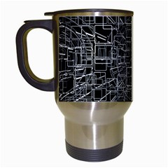 Black Abstract Structure Pattern Travel Mugs (white)