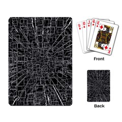 Black Abstract Structure Pattern Playing Card