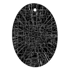 Black Abstract Structure Pattern Oval Ornament (two Sides)