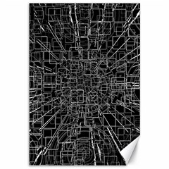 Black Abstract Structure Pattern Canvas 12  X 18