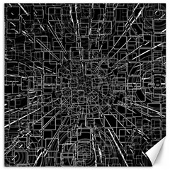 Black Abstract Structure Pattern Canvas 20  X 20
