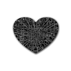 Black Abstract Structure Pattern Rubber Coaster (heart)