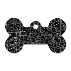 Black Abstract Structure Pattern Dog Tag Bone (two Sides)