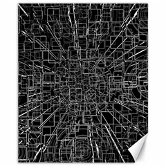 Black Abstract Structure Pattern Canvas 11  X 14