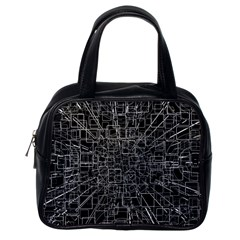 Black Abstract Structure Pattern Classic Handbags (one Side)