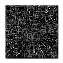 Black Abstract Structure Pattern Face Towel