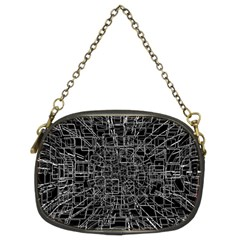 Black Abstract Structure Pattern Chain Purses (two Sides)