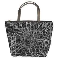 Black Abstract Structure Pattern Bucket Bags